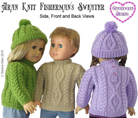 Aran Knit Fisherman's Sweater and Hat Knitting Pattern
