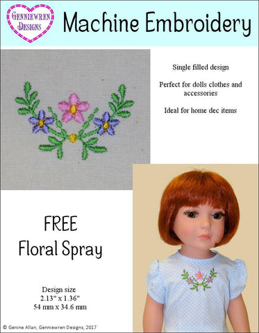 Genniewren Machine Embroidery Design Free Floral Spray Machine Embroidery Design Pixie Faire