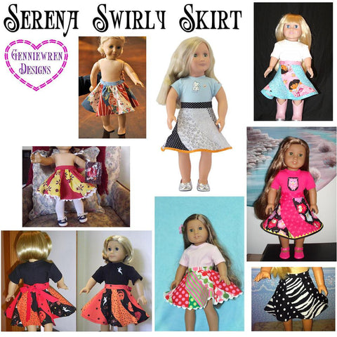 "Serena Skirt 18"" Doll Clothes Pattern"