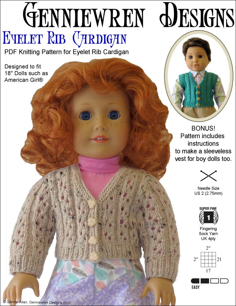 Genniewren Designs Eyelet Rib Cardigan Doll Clothes Pattern 18 Inch