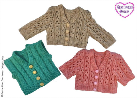 "Eyelet Rib Cardigan 18"" Doll Knitting Pattern"