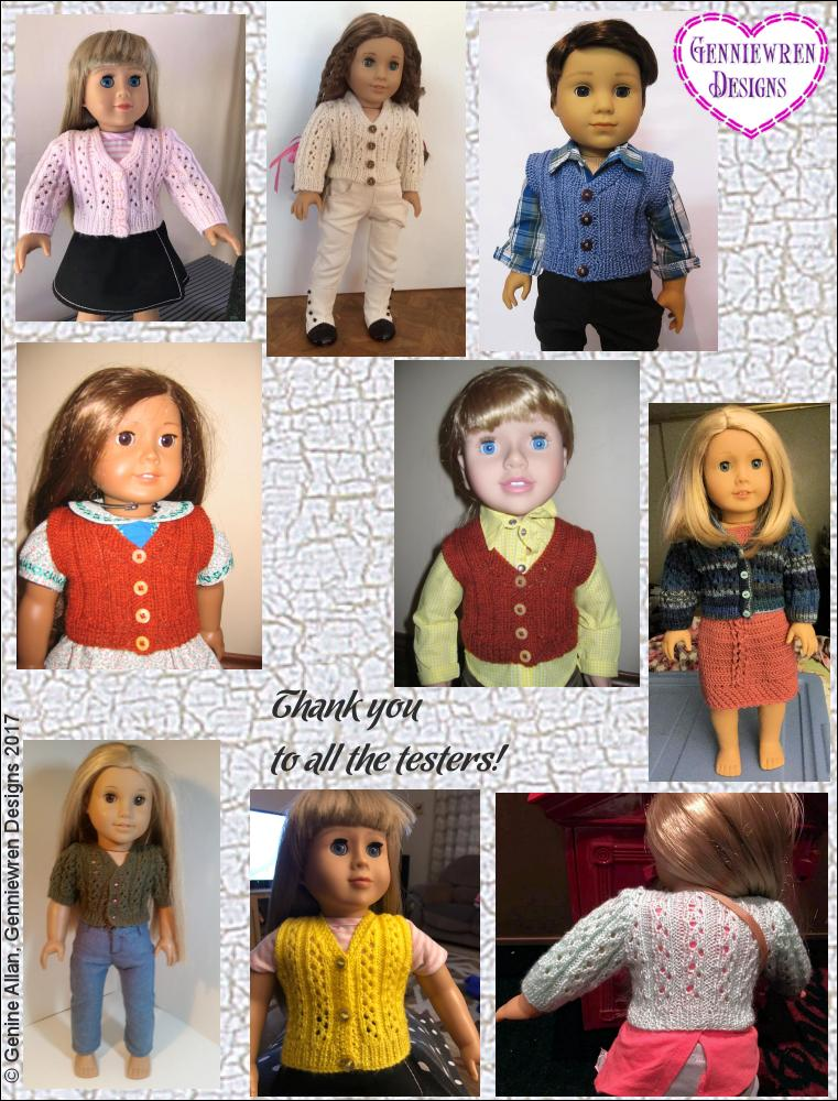 Genniewren Designs Eyelet Rib Cardigan Doll Clothes Pattern 18 inch ...