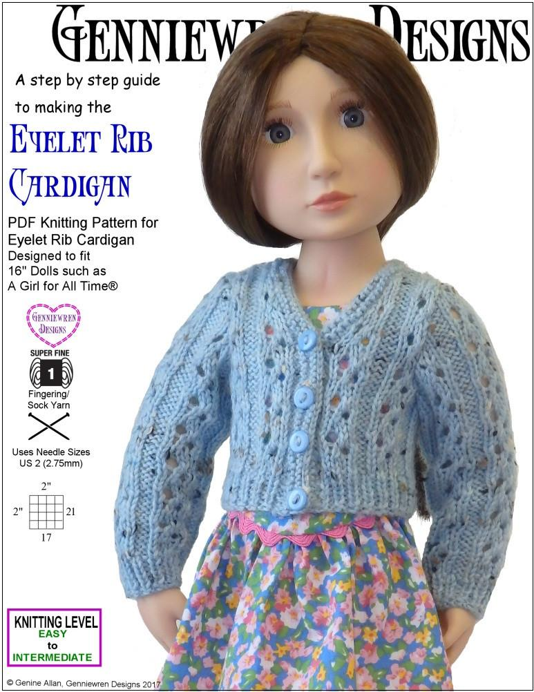 Genniewren Designs Eyelet Rib Cardigan Doll Clothes Knitting Pattern ...