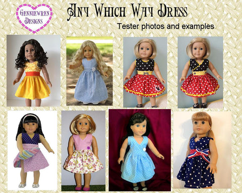 "Any Which Way Dress 18"" Doll Clothes Pattern"