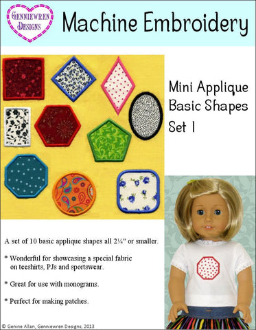 Mini Applique Basic Shapes Set 1 Machine Embroidery Design