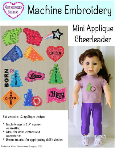 Mini Applique Cheerleading Design Set Machine Embroidery Design