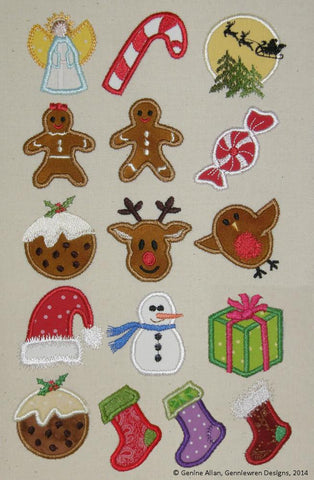 Mini Applique Christmas Design Set 1 Machine Embroidery Designs