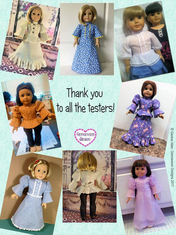 "Arabella 1970s Style Blouse or Dress 18"" Doll Clothes Pattern"
