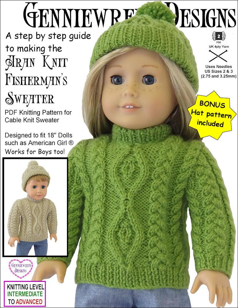 Genniewren Designs Aran Knit Fishermans Sweater And Hat Doll