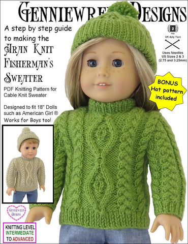 Genniewren Knitting Aran Knit Fisherman's Sweater and Hat Knitting Pattern Pixie Faire