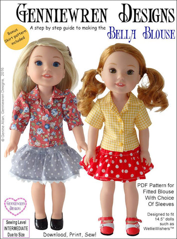 "Bella Blouse 14.5"" Doll Clothes Pattern"