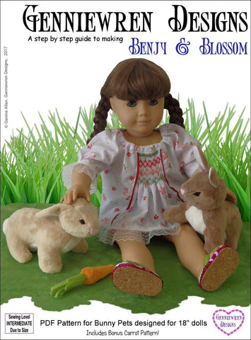 "Benjy & Blossom Bunny Pets 18"" Doll Pet Pattern"