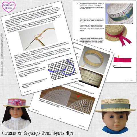 Victorian & Edwardian-Style Boater Hat Pattern for 13-18 Inch Dolls