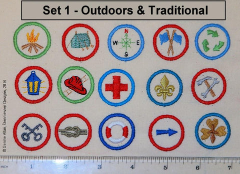 Mini Club Patches Design Set 1 - Outdoors & Traditional Machine Embroidery Designs