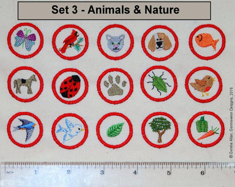Mini Club Patches Design Set 3 - Animals and Nature Machine Embroidery Designs