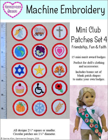 Mini Club Patches Design Set 4 - Friendship, Fun & Faith Machine Embroidery Designs