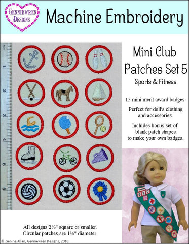Mini Club Patches Design Set 5 - Sports & Fitness Machine Embroidery Designs
