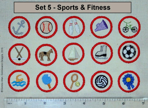 Genniewren Machine Embroidery Design Mini Club Patches Design Set 5 - Sports & Fitness - Machine Embroidery Designs Pixie Faire