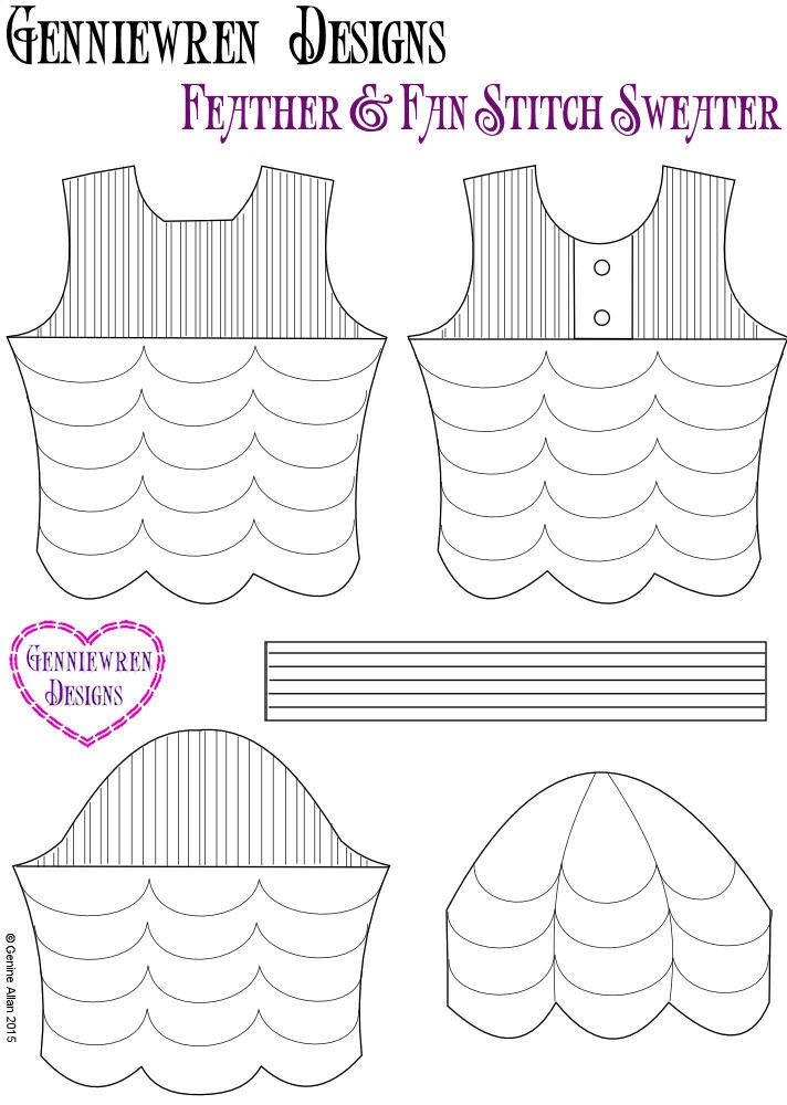 Genniewren Designs Feather & Fan Stitch Sweater Doll