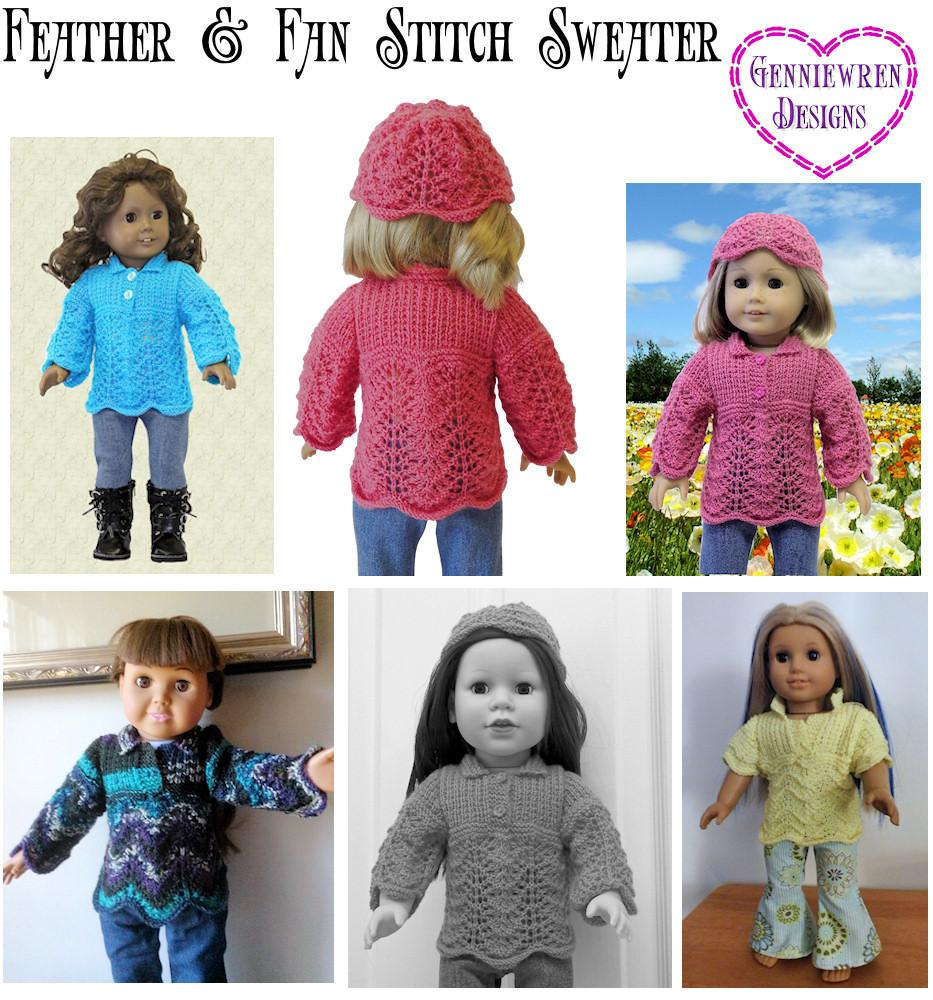 Genniewren Designs Feather & Fan Stitch Sweater Doll Clothes Pattern ...