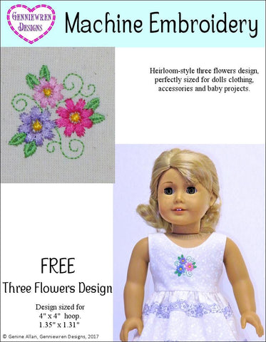 FREE Three Flowers Machine Embroidery Design