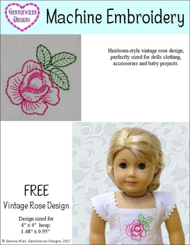 FREE Vintage Rose Machine Embroidery Design