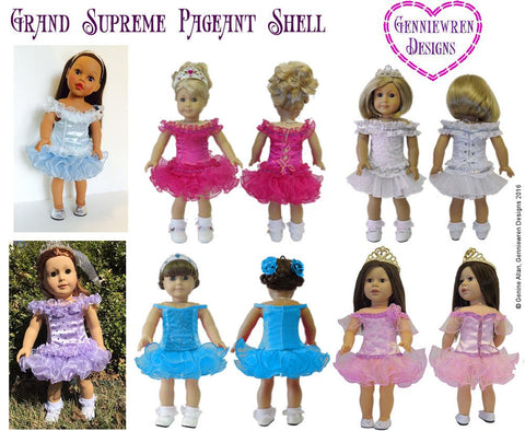 "Grand Supreme Pageant Shell 18"" Doll Clothes Pattern"