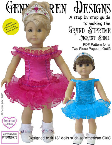"Genniewren 18 Inch Modern Grand Supreme Pageant Shell 18"" Doll Clothes Pattern Pixie Faire"