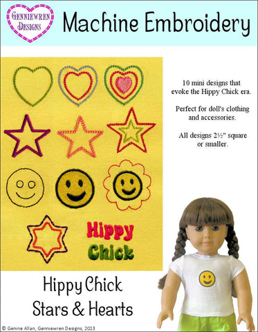 Hippy Chick Hearts & Stars Design Set Machine Embroidery Designs