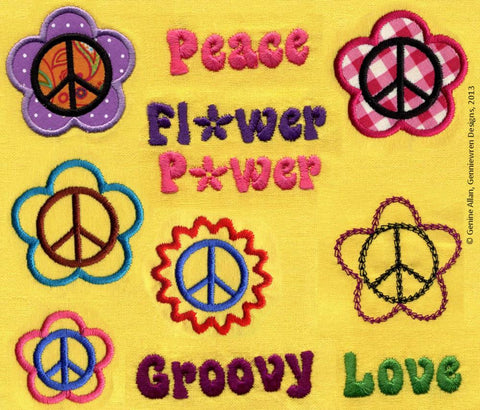 Hippy Chick Flower Power Design Set Machine Embroidery Designs