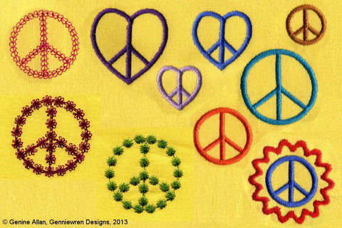Hippy Chick - Peace Love - Design Set Machine Embroidery Design