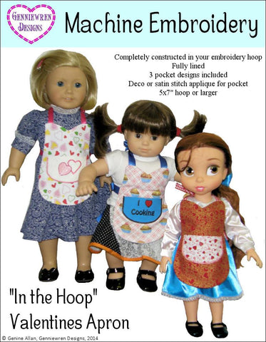 In the Hoop Valentines Doll Apron Machine Embroidery Designs