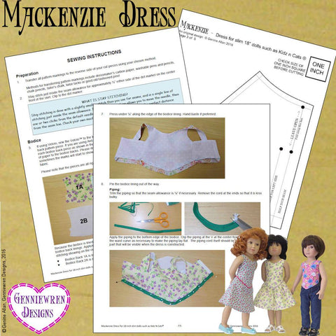 Mackenzie Dress Pattern for Kidz N Cats Dolls