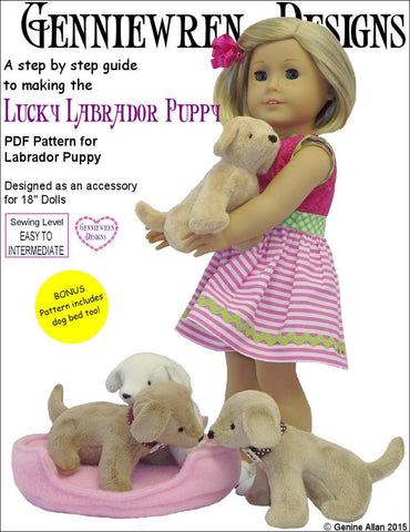 "Genniewren 18 Inch Modern Lucky Labrador Puppy 18"" Doll Pet Pattern Pixie Faire"
