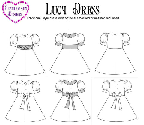 "Lucy Dress 18"" Doll Clothes Pattern"