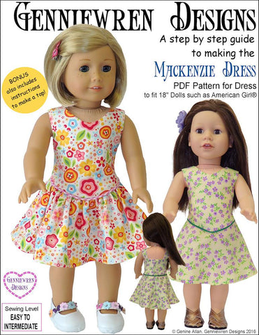 "Mackenzie Dress 18"" Doll Clothes Pattern"