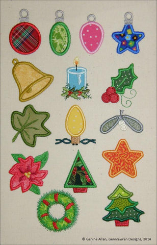Mini Applique Christmas Design Set 2 Machine Embroidery Designs