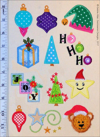 Mini Applique Christmas Design Set 3 Machine Embroidery Designs