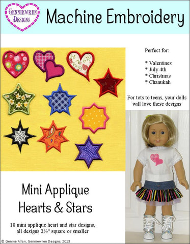 Mini Applique Hearts & Stars Machine Embroidery Designs