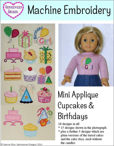Mini Applique Cupcakes & Birthdays Machine Embroidery Designs