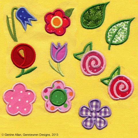 Mini Applique Flowers Machine Embroidery Designs