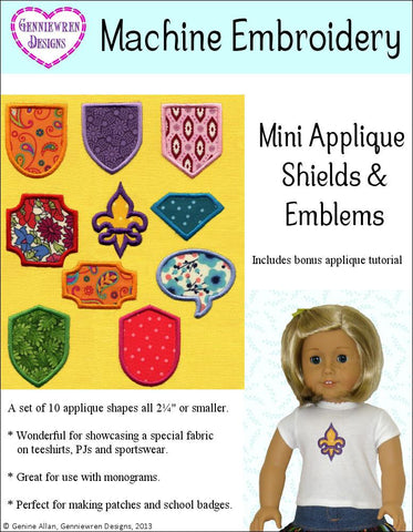 Mini Applique Shields & Emblems Machine Embroidery Design