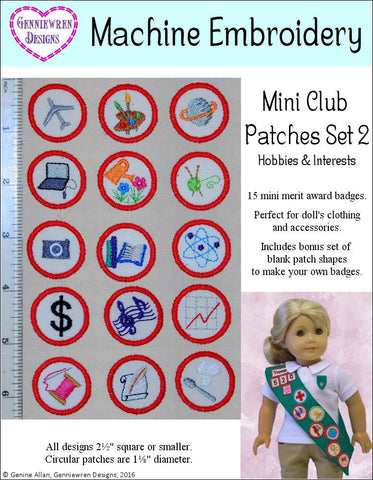 Mini Club Patches Design Set 2 - Hobbies & Interests Machine Embroidery Designs
