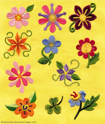 Mini Funky Flowers Machine Embroidery Designs