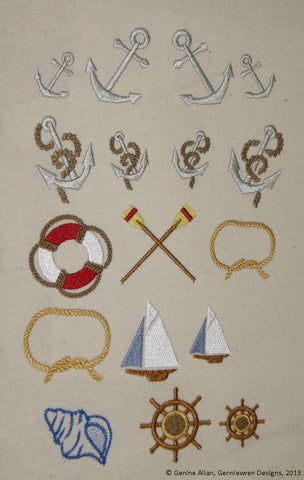 Mini Nautical Design Set Machine Embroidery Designs