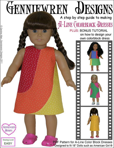 "A-Line Color Blocked Dresses 18"" Doll Clothes"