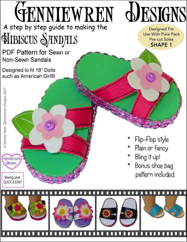 "Genniewren Shoes Hibiscus Sandals 18"" Doll Shoes Pixie Faire"
