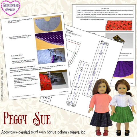 "Peggy Sue  Accordion Pleated Skirt  18"" Doll Clothes Pattern"