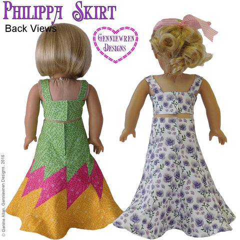 "Genniewren 18 Inch Modern Philippa Skirt 18"" Doll Clothes Pattern Pixie Faire"