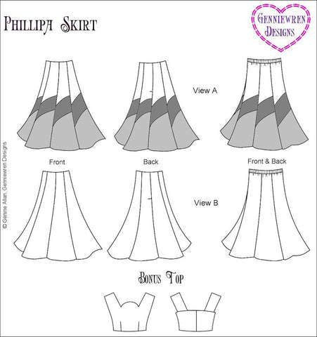 "Philippa Skirt 18"" Doll Clothes Pattern"